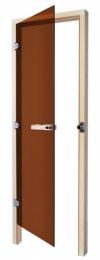 Стеклянная дверь бронза SAWO Кедр (без порога)
